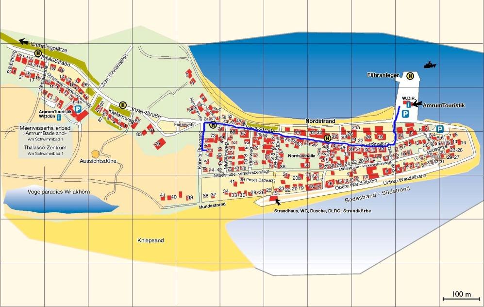 amrum karte Karte von Amrum mit dem Weg zur Ferienwohnung Seeanemone